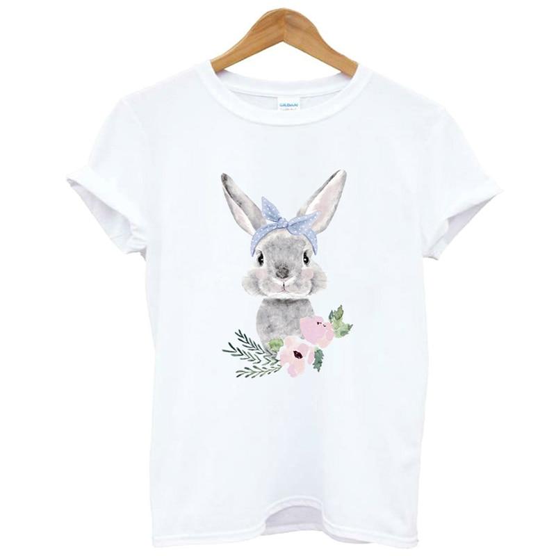 Lus Los Kawaii Rabbit Tshirt Flower Print Women Tshirt Cotton Casual T Shirt Girl Top Tee Hipster Cute Summer T-shirt