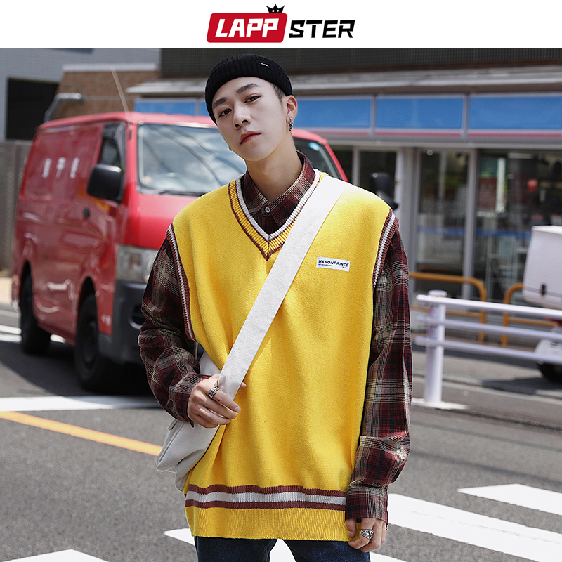 LAPPSTER Men Striped Sweater Vest 2020 Mens Winter Hrajuku Korean Streewear Sweater Pullover Yellow Vest Clothing Sleeveless