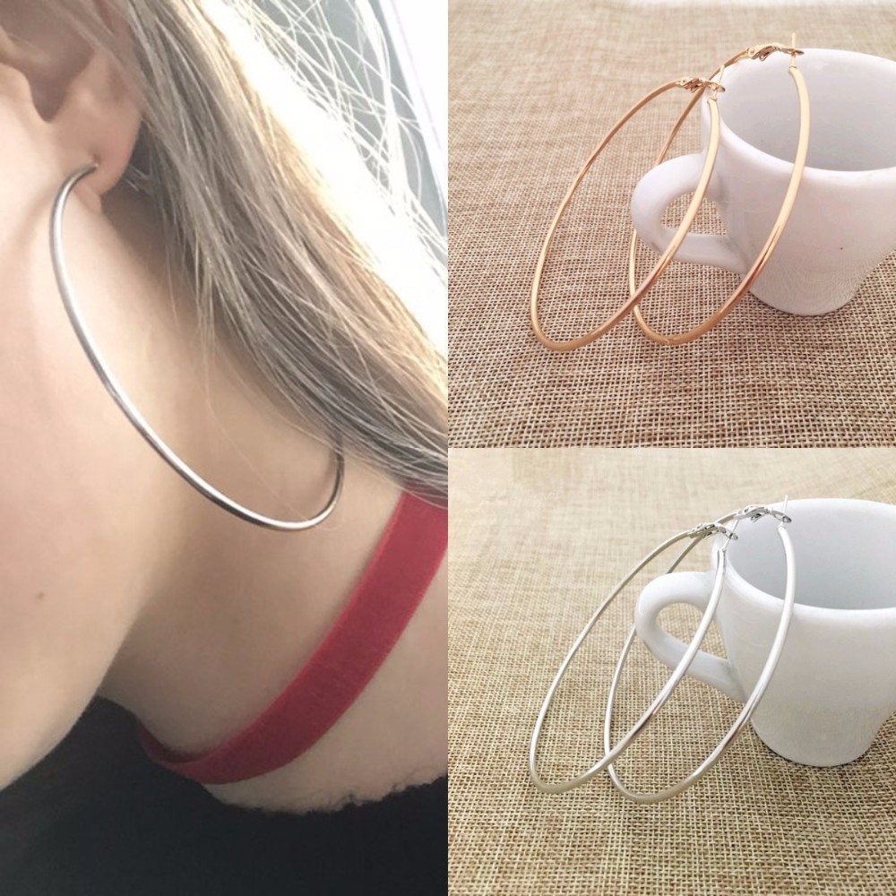 20-60MM Big Hoop Earrings Smooth Circle Earrings Ear Loop For Women Jewelry Wholesale Fashion Girl's Exaggerated Accessories