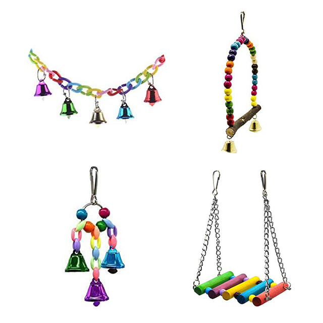 4 Pcs/Set Swing Toys Colorful Swing With Parrot Bells Connection Decorative Accessories Small Parakeet Cages Bird Supplies Toy 3