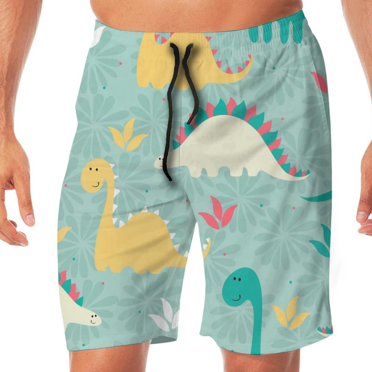 Men Casual Summer Hawaiian Beach Pants Half Trousers Colorful Dinosaur Pattern