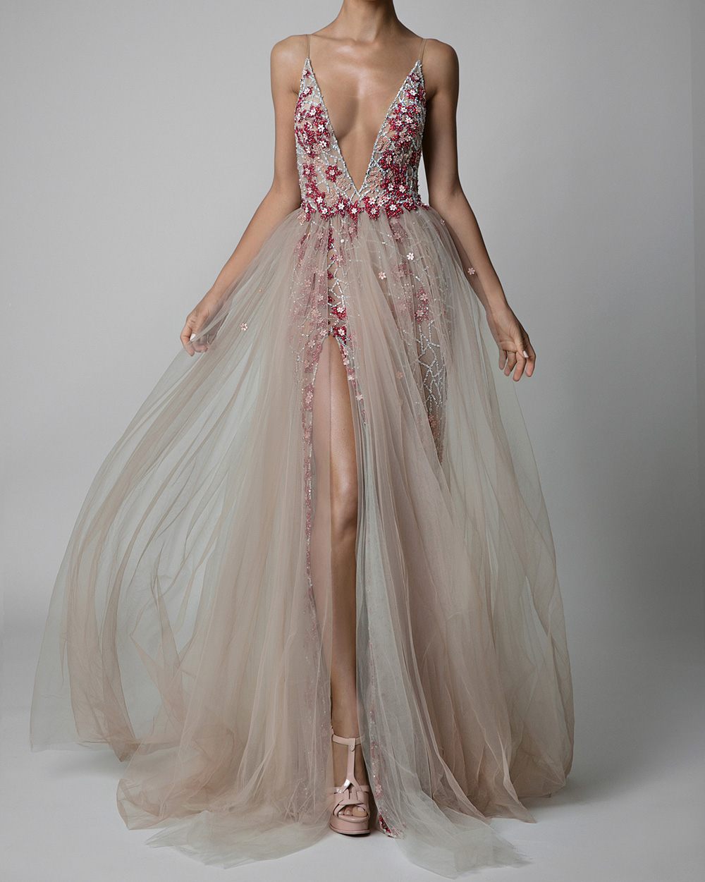 SSYFashion New Luxury High-end Evening Dress Sexy Deep V-neck Backless High-split Sequins Beading Long Beach Formal Gown Vestido