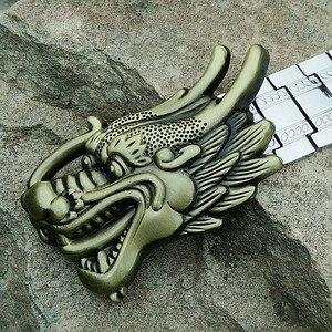 Image 5 - Erkek Metal paslanmaz çelik kemer Punk tarzı X toka kendini savunma kemer ejderha mektup kişiselleştirilmiş özel açık kemer