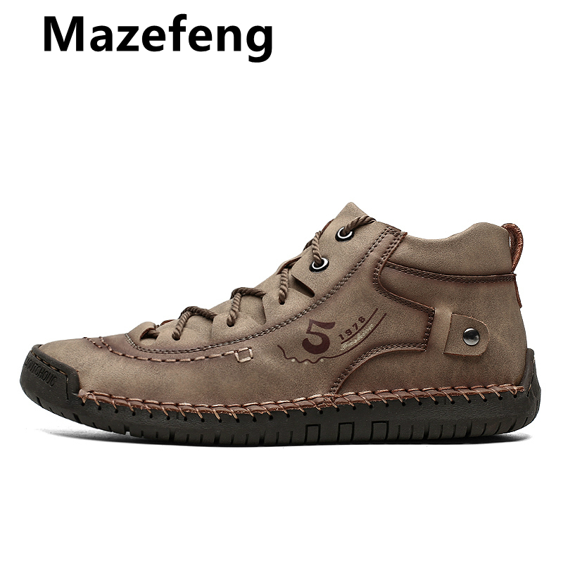 Mazefeng 2019 Brand New Comfortable Mens Casual Shoes  Men Shoes Quality Leather Shoes Men Flats Moccasins Shoes Big Size 38-48
