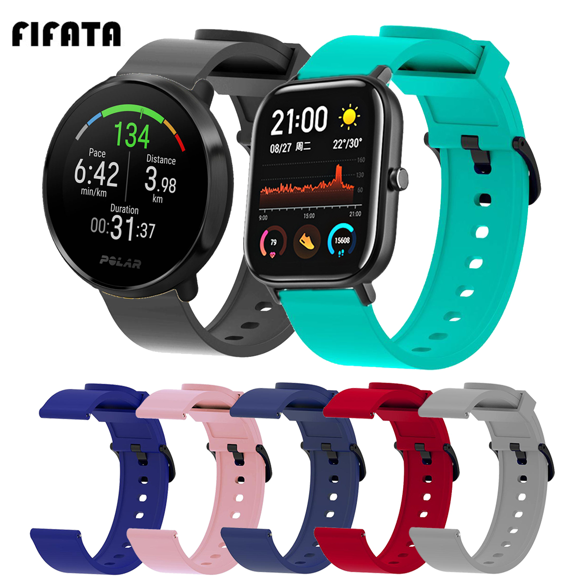 FIFATA 20MM Soft Silicone Colorful Watch Strap For Polar Ignite Smart Watch Wristband For Xiaomi Huami Amazfit GTS/Bip/GTR 42MM