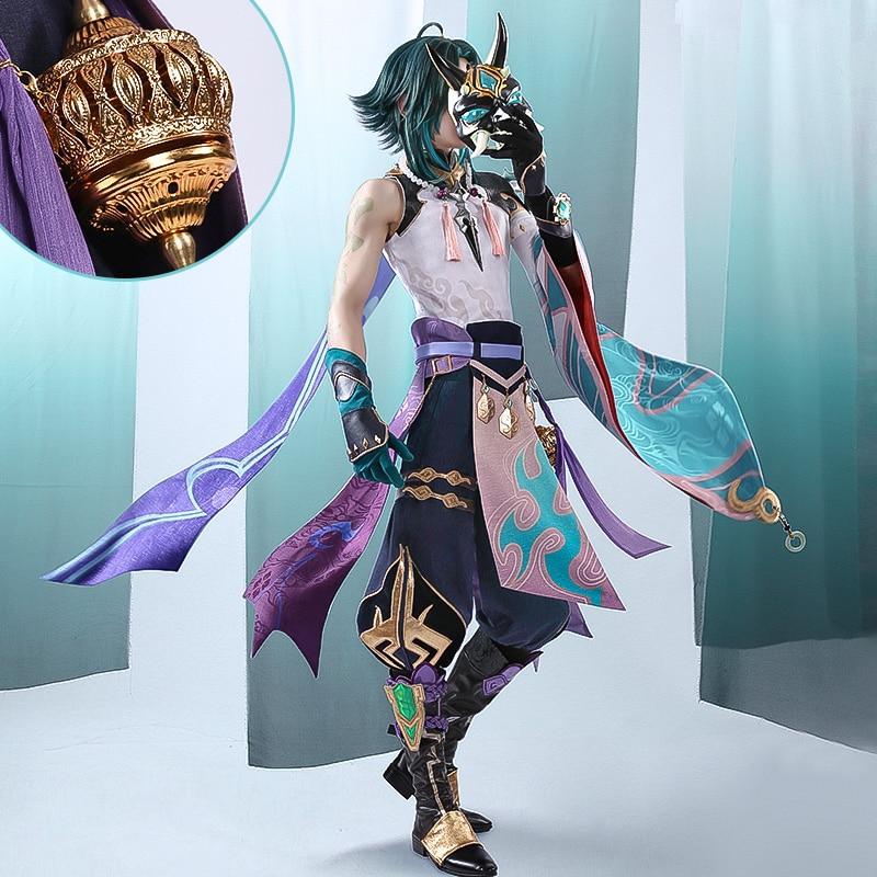 Костюм для косплея аниме Genshin Impact Xiao, костюм для игры, Униформа, костюм для Хэллоуина для женщин и мужчин, новинка 2021