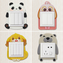Cartoon Animal Luminous Switch Cover Wall DIY Room Decor 3D Silicone on-off Switch Sticker Luminous Switch Outlet Wall Stickers
