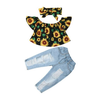 Toddler Baby Girl Clothes Off Shoulder Sunflower Print Tops Ripped Denim Pants Headband 3Pcs Outfits Summer Baby Girl Clothes thanksgiving toddler kids baby girl clothes long sleeve tops plaid pants leggings headband 3pcs outfits clothes set