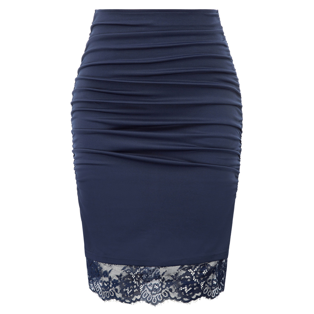 Women Lace Hem Pencil Skirt Ruched Elastic Waist Hips-Wrapped Bodycon Skirts Elegant Retro Slim Business Party OL Office Skirt