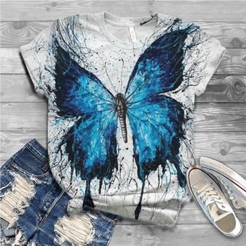 T Shirt Women Tops Women Plus Size Short Sleeve Butterfly Printed O-Neck Tshirt