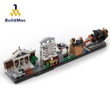 Buildmoc frete grátis edifícios da cidade de volta para o futuro castelo simpsons casa filme skyline arquitetura blocos de construção brinquedos