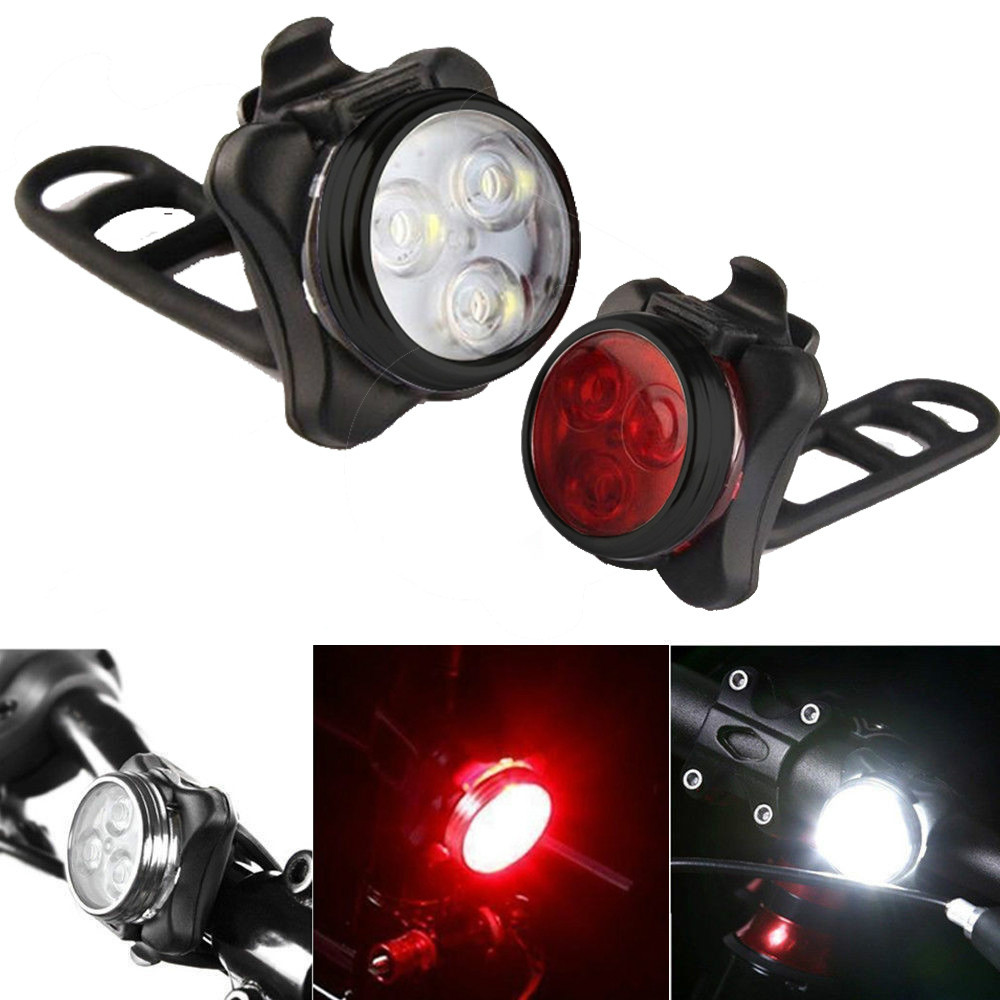 USB Rechargeable Tail Clip Light Lamp Waterproof  High Quality Bright Cycling Bicycle Bike 3 LED Head Front Light 4 Modes