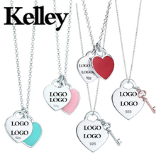 Kelley high quality original Tiff 925 sterling silver color heart necklace brand design ladies fashion luxury jewelry party gift