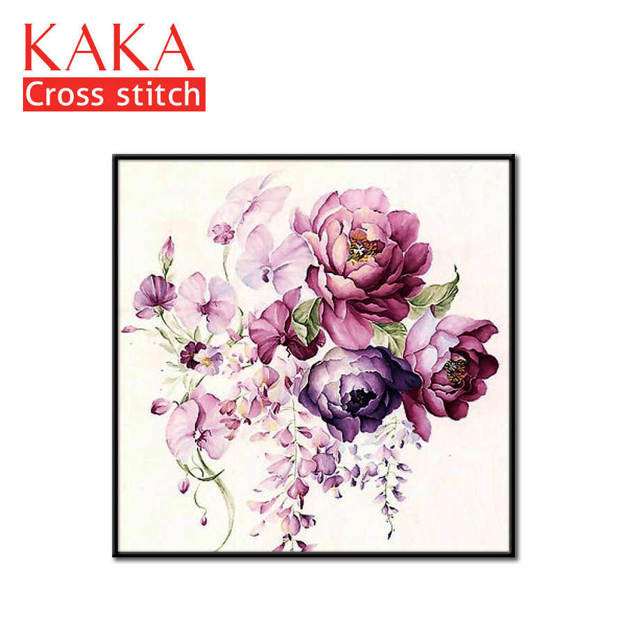 Cross stitch kits,Embroidery needlework sets with printed pattern,11CT canvas for Home Decor Painting,Flowers Full NCKF192