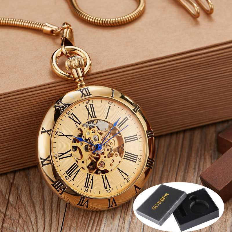 Smooth Retro Round Golden Mechanical Pocket Watch Men Fob Chain Exquisite Sculpture Copper Automatic Pocket Watch Male Gifts