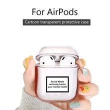 Jaomax Plastic Hard PC Clear Social Media seriously harms your mental health Wireless Earphone Case for Airpods Protetive Covers(China)
