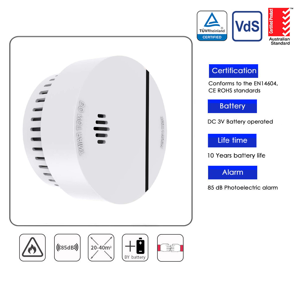 Fire Alarm Sensor Smoke Detector Home Security Allume Fen 10 Years Battery Photoelectric Independent Sensitive