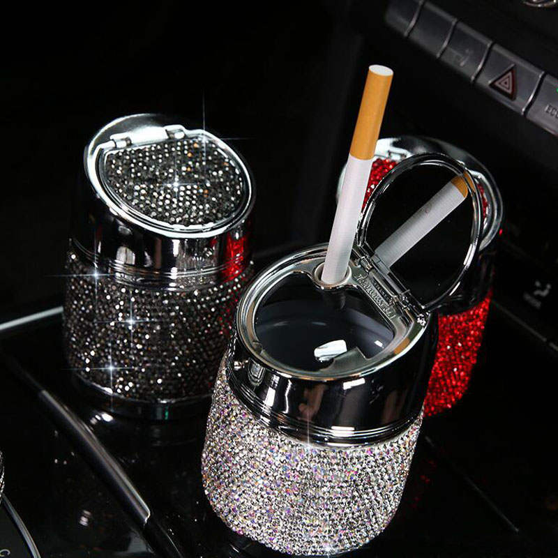 Luxury Crystal Rhinestones Car Ashtray Cup Holder Metal Bling Bling Auto Ashtrays For Women Portable Car Interior Accessories