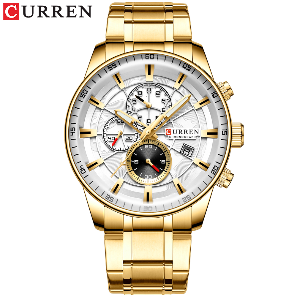 Mens Watches CURREN New Fashion Stainless Steel Top Brand Luxury Multi-function Chronograph Quartz Wristwatch Relogio Masculino