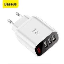 Baseus LED الرقمية 3 منافذ USB شاحن الاتحاد الأوروبي التوصيل الهاتف المحمول شحن سريع الجدار شاحن 3.4A ماكس آيفون X 8 7 سامسونج S9 S8