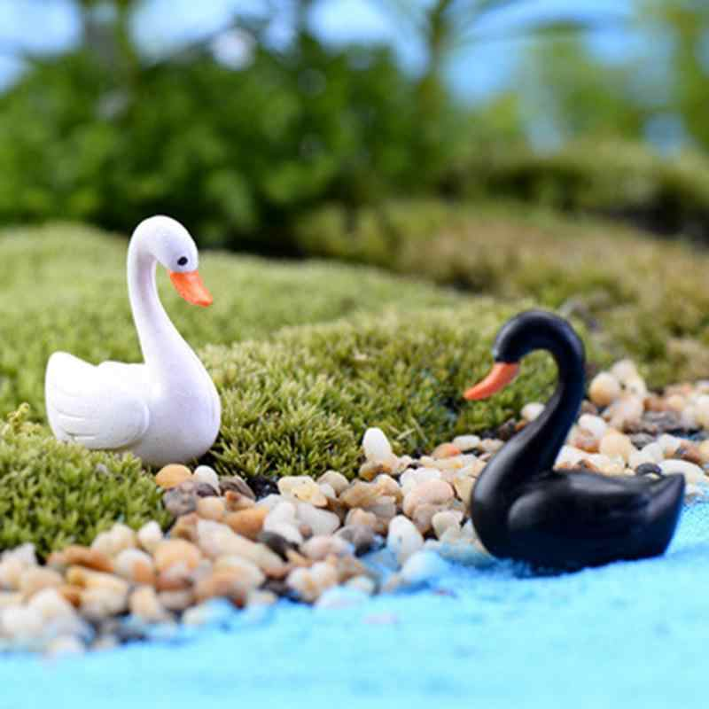 1/2 pçs pequeno mini bonito ganso cisne modelo aquários ornamentos de fadas decoração do jardim estatueta em miniatura diy acessórios para casa