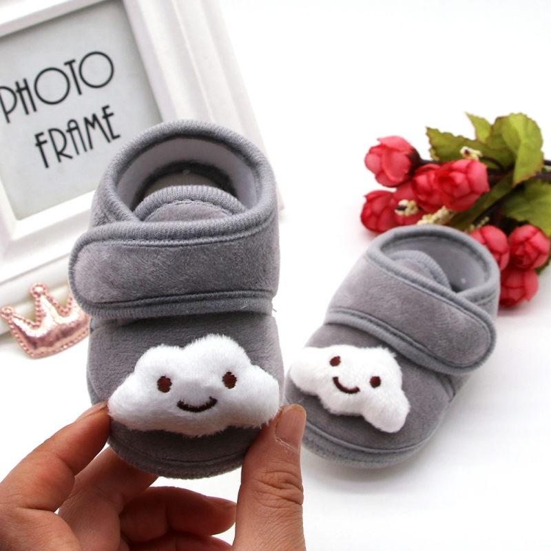Newborn Baby Boys Girls First Walker Shoes Winter Warm Crib Shoes Cartoon Print Anti-Slip Cotton Plush Shoe Toddler Soft Soled