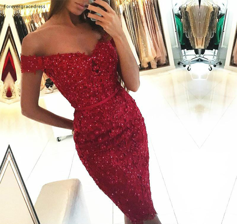 2019 Cheap Sexy Red Cocktail Dress Off Shoulders Short Semi Club Wear Homecoming Party Gown Plus Size Custom Make