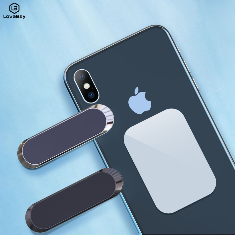 Lovebay Mini Magnetic Car Phone Holder Universal For IPhone Samsung Huawei Strip Shape Wall Metal Magnet GPS Car Mount Panel