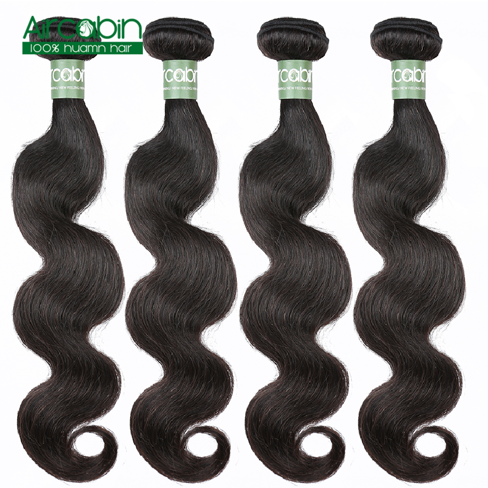 Peruvian Body Wave Bundles 100% Remy Human Hair 4 Bundles/Lot  Aircabin Hair Extensions Natural Black Can Be Dyed And Bleached Free Shipping