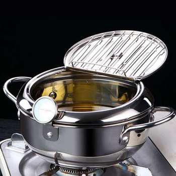Kitchen Deep Frying Pot Thermometer Tempura Fryer Pan Temperature Control Fried Chicken Pot Cooking Tools automatic cooking robot automatic cooking pot intelligent electric frying pan