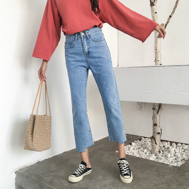 Image 2 - Jeans Women Chic Loose Simple Korean Style Casual Daily Autumn All match High Quality Trendy Student Pockets Womens Jean 2020 BFJeans   -