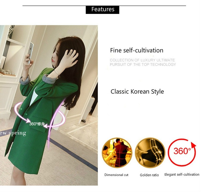 Single One Button Women Long Blazer Jacket Spring Autumn 2020 Slim Outwear Elegant Overcoat 2 Pockets OL Suits Coat Female
