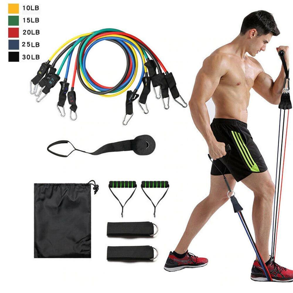 11 Pcs Resistance Band Set Yoga Pilates Exercise Fitness Tube