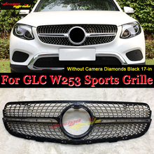 front grille suitable for glc class w253 gtr 2015 2018 x253 glc200 glc250 glc300 glc450 glc63 grille without central logo For MercedesMB W253 Diamonds Front grills Without Camera GLC-class GLC250 GLC350 400 ABS Black Front Grille Without Sign 2017-in