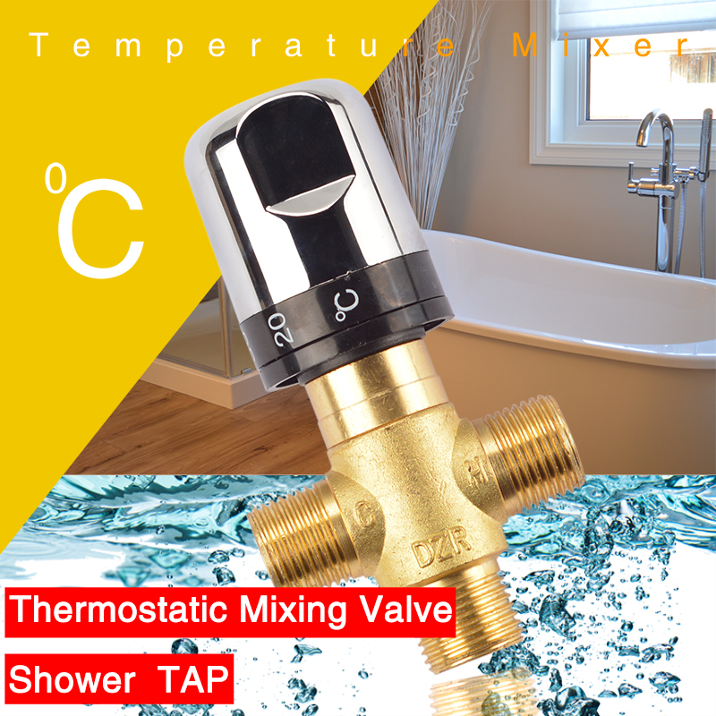 Brass Thermostatic Mixing Valve Bathroom Faucet Temperature Mixer Control Thermostatic Valve Home Improvement Accessories