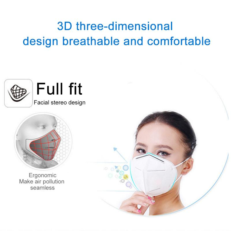 KN95 Mask-Unvalved Face Mask N95 Protection Face Ffp2 Mask 5 Layers Wr4f PM2.5 Masks Anti-fog And Dustproof Adult Cotton White