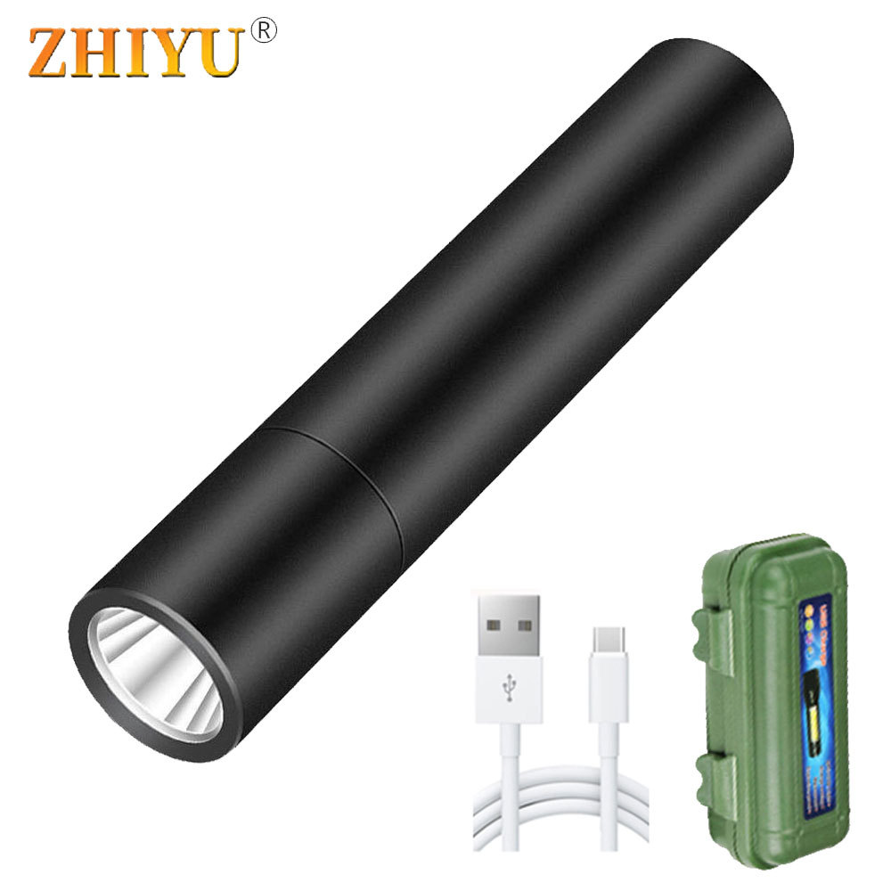 3 Modes Portable Flashlight LED Torch Built In Battery USB Rechargeable Mini Kids Flashlight Fixed Focus Pocket Camping Lamps