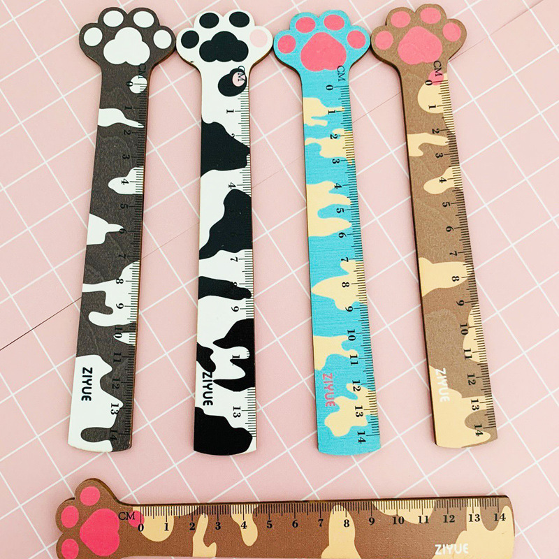 1Pcs Wooden Cat Claw Ruler Cute 14 Cm Measuring Straight Rulers Drawing Tool Promotional Stationery Gift School Supplies