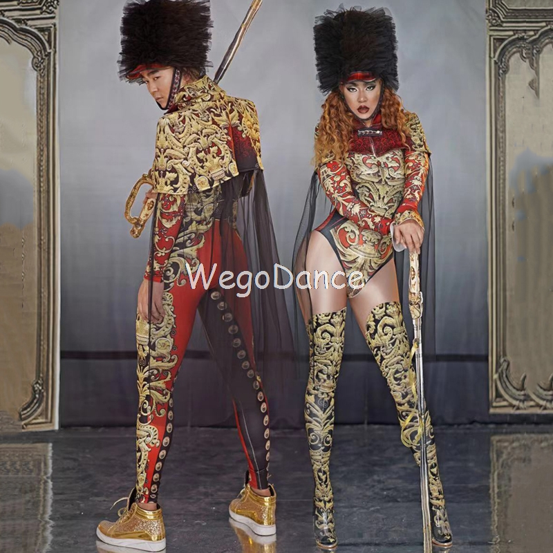Sexy Palace Royal Military Uniform Costume Spandex Leotard Nightclub Outfit Women Singer Dance Prom Bodysuit Set With Hat