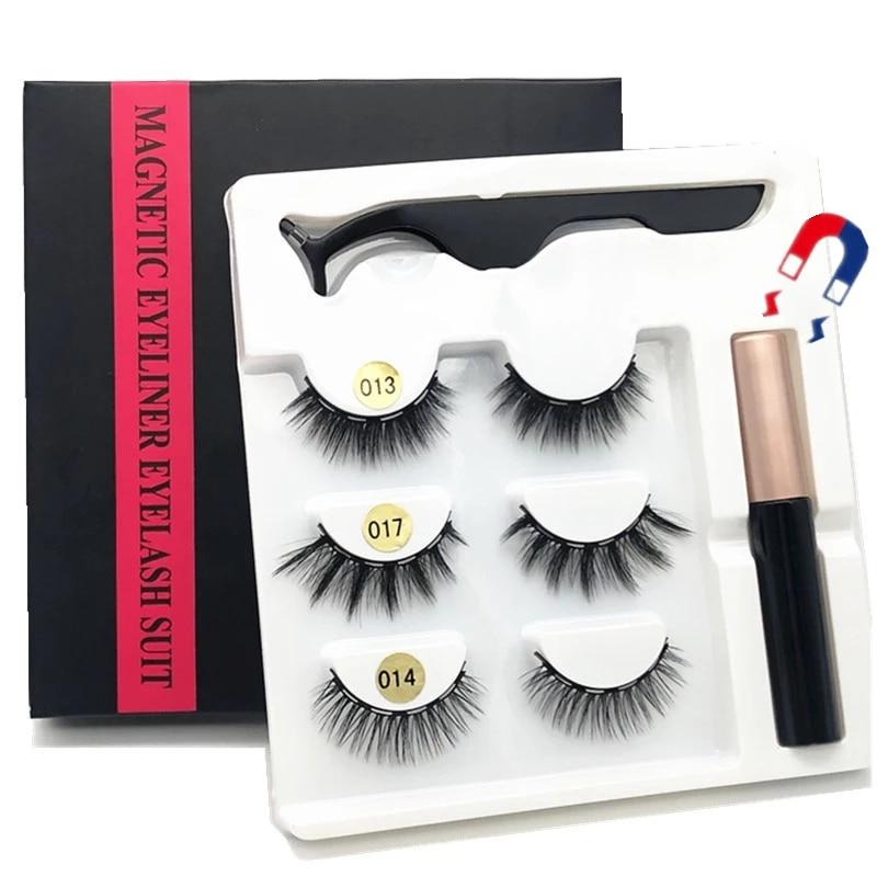 3/5 pairs of magnet eyelash makeup eyelashes magnetic eyelash eyeliner eyelash curler easy to wear thick false eyelashes  gift 1