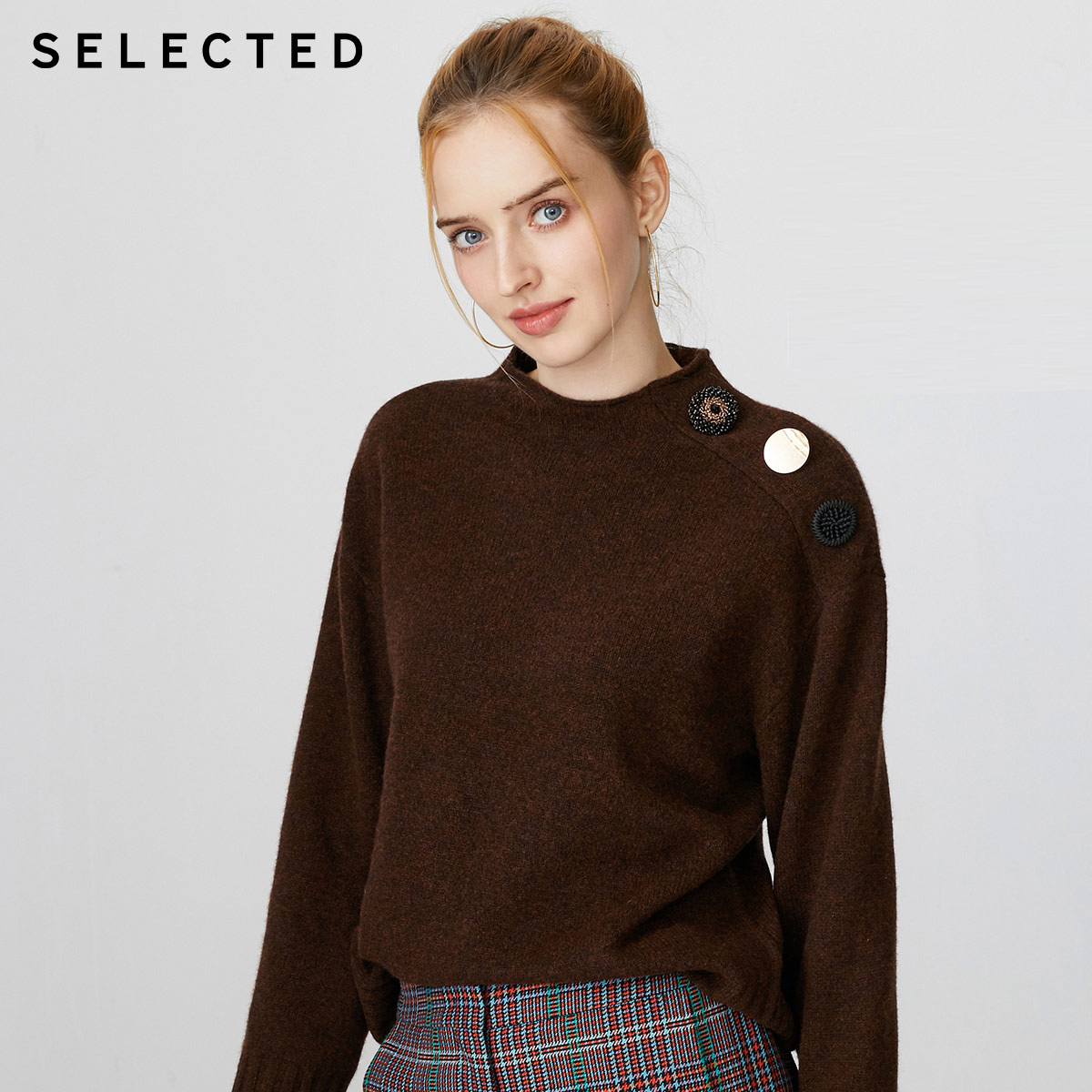 SELECTED Women's Loose Fit Wool-blend Knit Sweater S|419413507