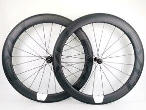 Image 1 - 700C 60mm derinlik yol bisikleti karbon tekerlekler 25mm genişlik tübüler/kattığı bisiklet karbon tekerlekler et UD mat finish EVO çıkartmaları