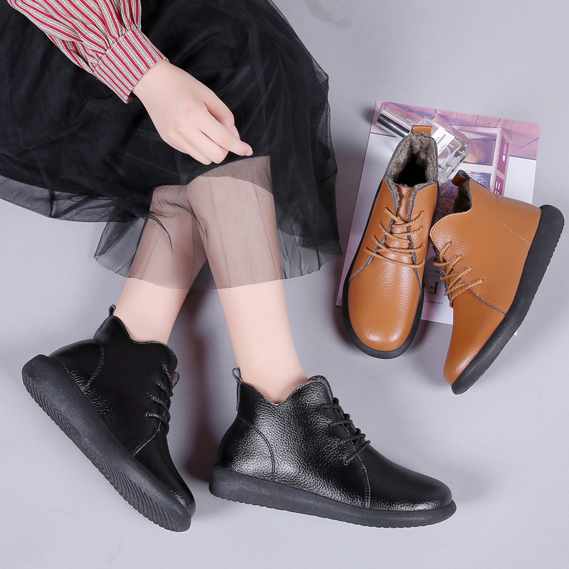 PEIPAH Winter Ankle Boots Women Genuine Leather Shoes Woman Autumn Rubber Boots Female Lace Up Shoes