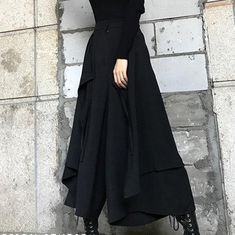 LANMREM Black Zipper Waist Splicing Ruffled Irregular Woman Skirt Casual Versatile Simple Fashion 2020 Spring Dresses New TV783