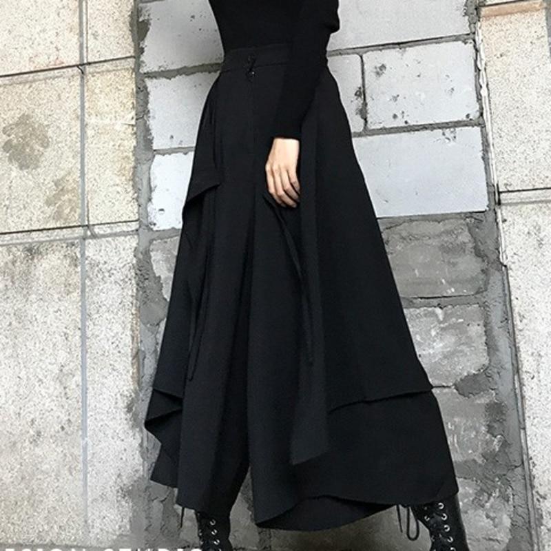 1897.13руб. 21% СКИДКА|LANMREM, черная, на молнии, с талией, с оборками, необычная Женская юбка, повседневная, универсальная, простая, модная, 2020, весенние платья, новинка, TV783|Брюки | |  - AliExpress
