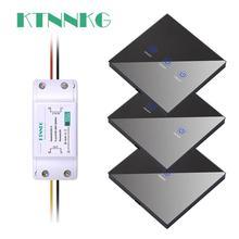 KTNNKG 110V 220C 1 갱 터치 패널 원격 제어 라이트 스위치 범용 RF 수신기 433Mhz 10A 기본 강화 유리
