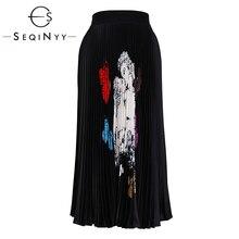 SEQINYY Black Skirt 2020 Autumn Spring New Fashion Design Flowers Printed Elastic Waist Pleated Long