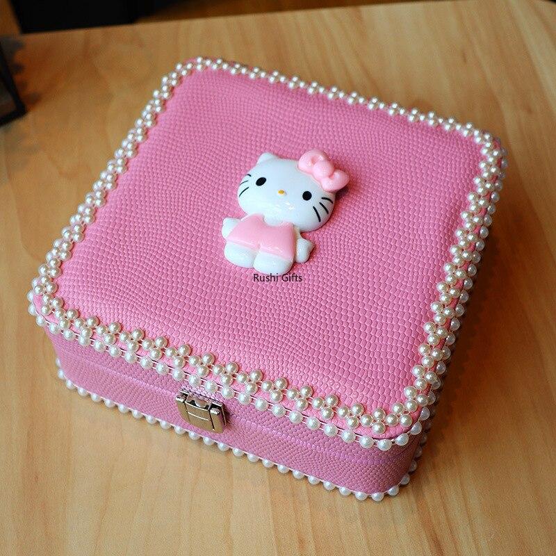 Rose belle boucle d'oreille boîte Helloo Kitty boucle d'oreille organisateur bijoux emballage ornement support collier bibelot boîte voyage boîte à bijoux
