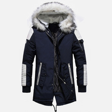 Winter Jacket Coats Parkas Fur-Collar Warm Thick Men Fashion Cotton New Patchwork-Design