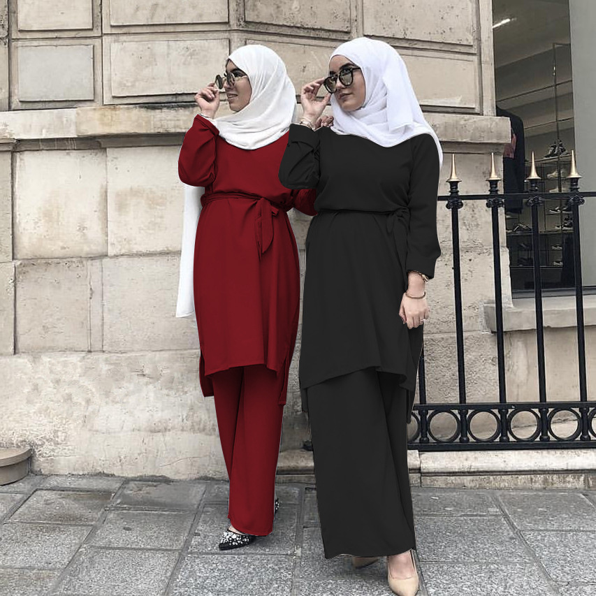 Muslim 2Pecs Sets Women Dubai Arab Blouse Pants Lace-up Abaya Wide Leg Pants Ramadan Turkey African UAE Islamic Clothing Prayer